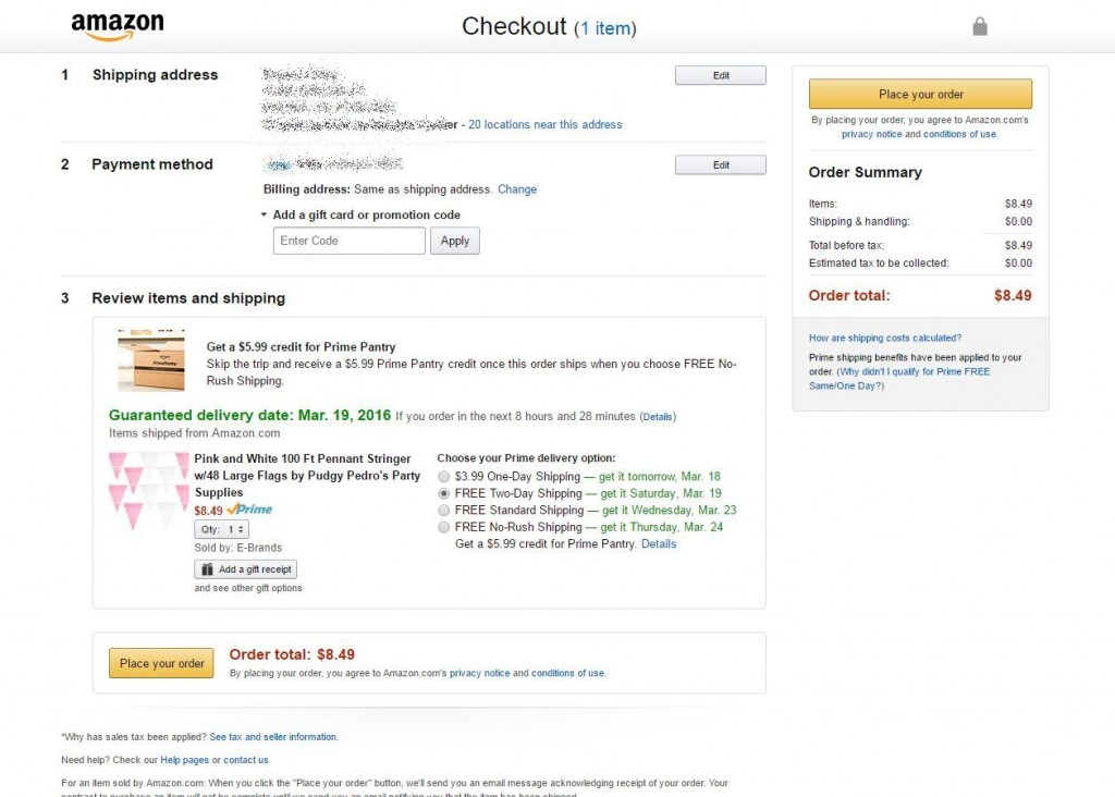 Amazon Cart Checkout