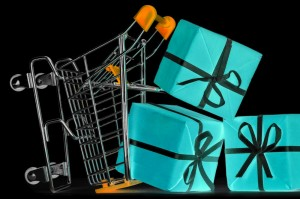 crashed shopping cart with a lot of gifts